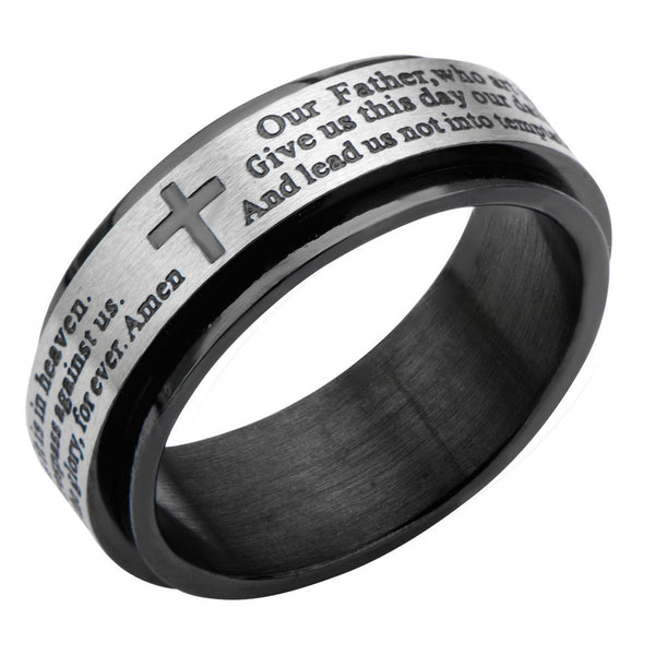 Inox 316L Stainless Steel Black IP Lords Prayer Spinner Ring