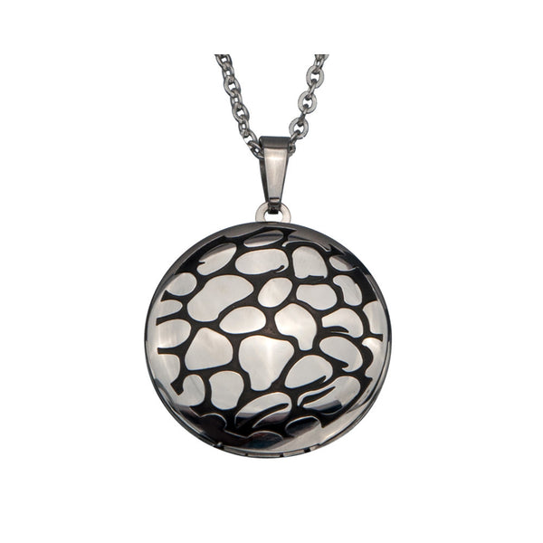 Inox 316L Stainless Steel 16 Inch Round Pebble Design Locket Necklace