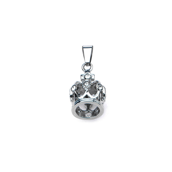 Inox 316L Stainless Steel Clear Gem Studded Imperial Crown Pendant