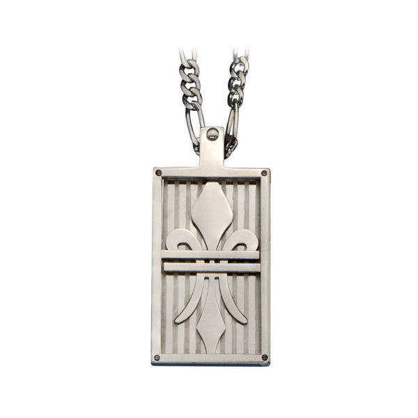 Inox 316L Stainless Steel 24 Inch Fleur de Lis Dog Tag Necklace