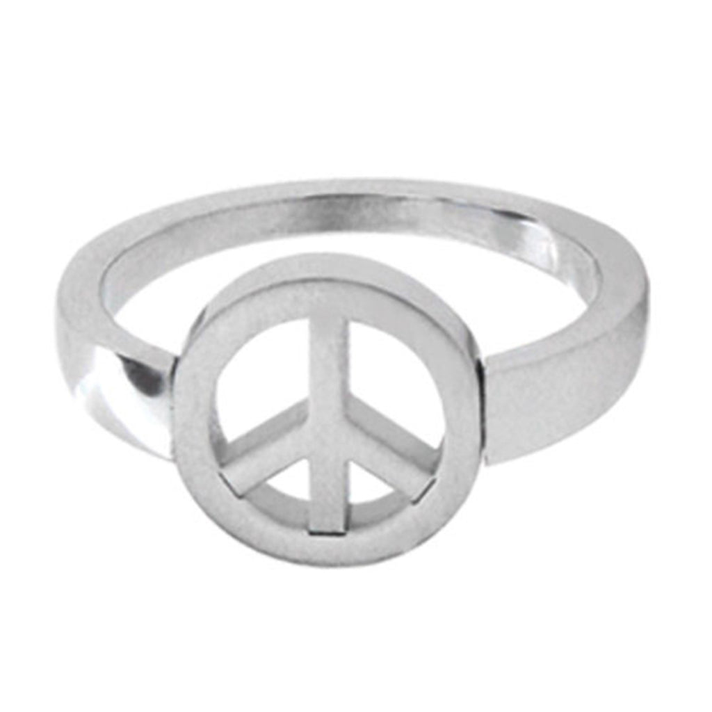 Inox Jewelry Peace Sign 316l Stainless Steel Ring Bodycandy