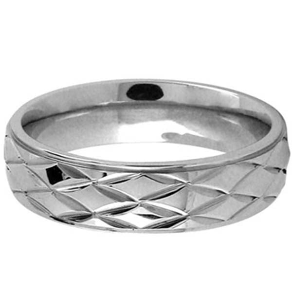 Inox Jewelry Diamond Pattern 316L Stainless Steel Band Ring