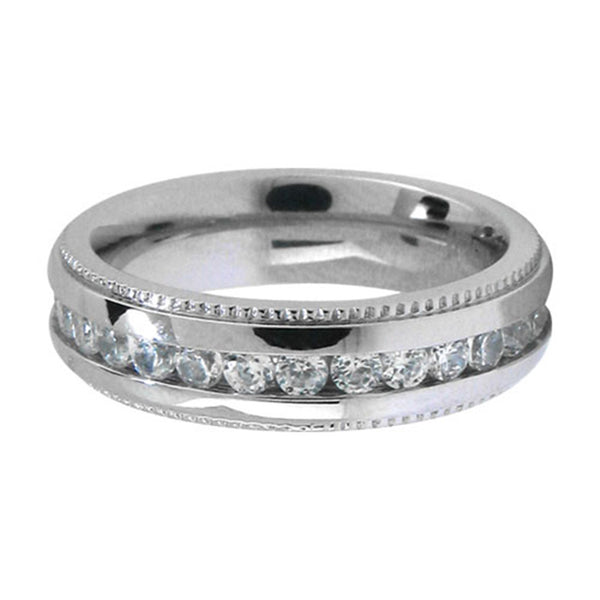 Inox Jewelry Women's Diamond Pattern 316L Stainless Steel Band Ring