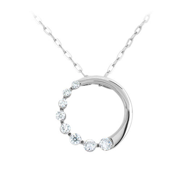 18 Inches - Inox Jewelry Cubic Zirconia 316L Stainless Steel Necklace