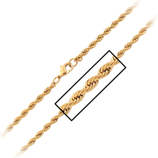 20 Inches - Inox Jewelry Gold PVD 316L Stainless Steel Rope Necklace