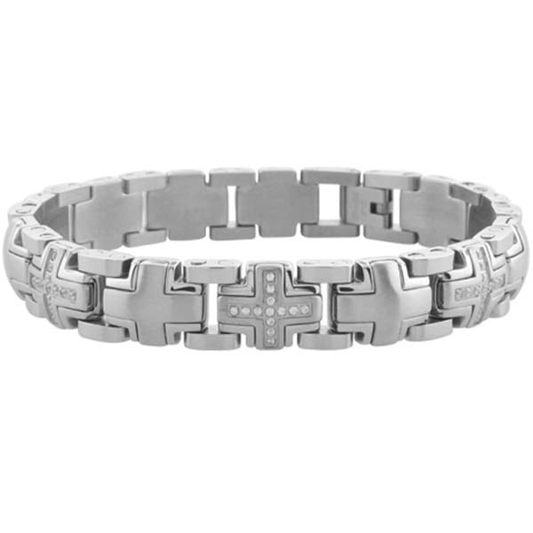 Inox Jewelry Men's CZ Hidden Cross 316L Stainless Steel Bracelet