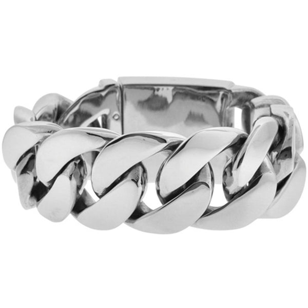 Inox Jewelry Men's Large Polished 316L Stainless Steel Link Bracelet