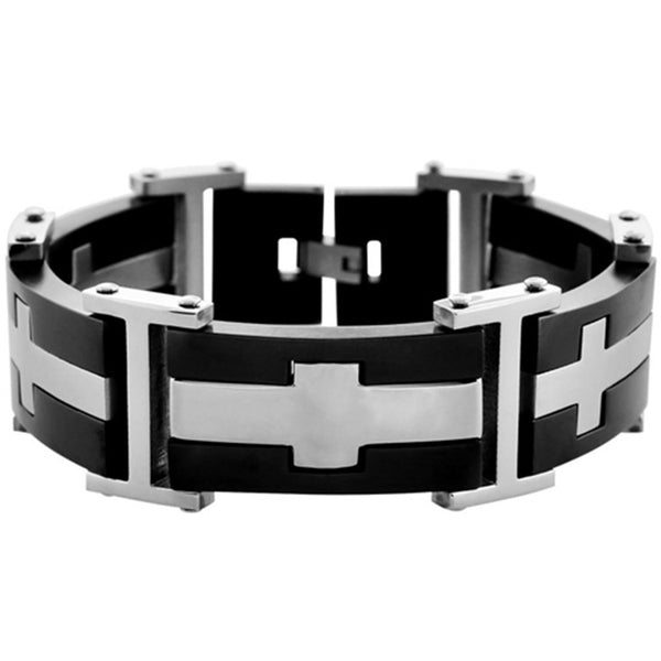 Inox Jewelry Men's Black PVD Cross 316L Stainless Steel Bracelet