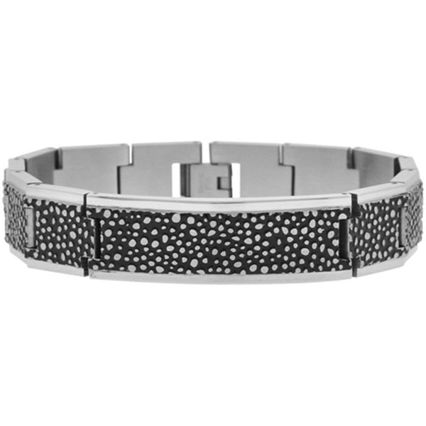 Inox Jewelry Men's 316L Stainless Steel Black PVD Dot Bracelet