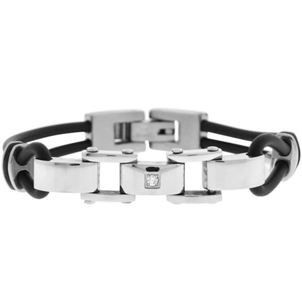 Inox Jewelry Men's CZ Rubber 316L Stainless Steel Bracelet