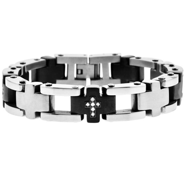 Inox Jewelry Men's CZ Cross 316L Stainless Steel Bracelet