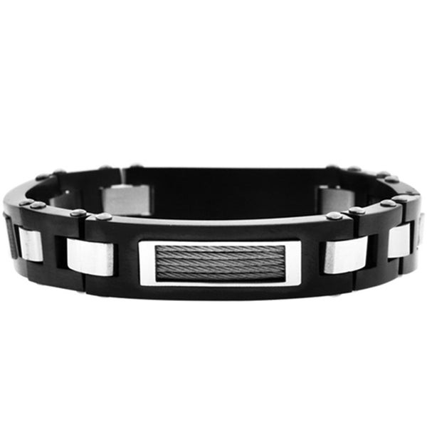 Inox Jewelry Men's Cable Black PVD Stainless Steel Bracelet