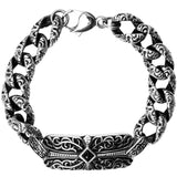 Inox Jewelry Men's Gothic Scroll Cross 316L Stainless Steel Bracelet