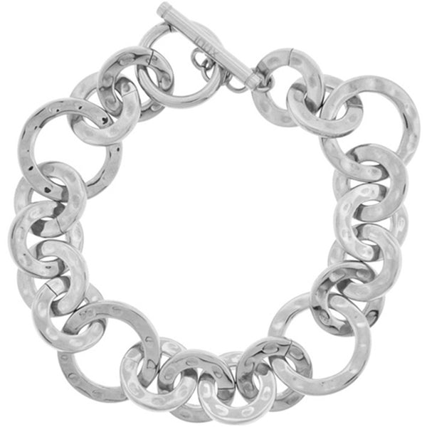 Inox Jewelry Women's Polished Hammered Round Link 316L Stainless Steel Bracelet