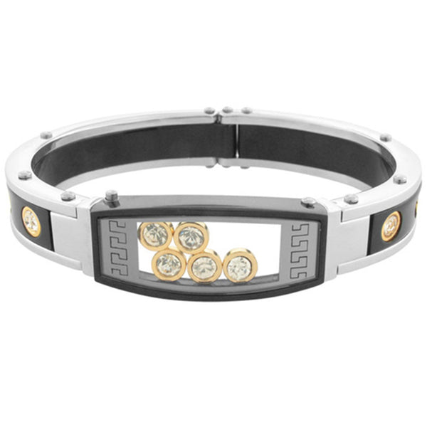 Inox Jewelry Men's Gold and Black PVD CZ 316L Stainless Steel Bracelet