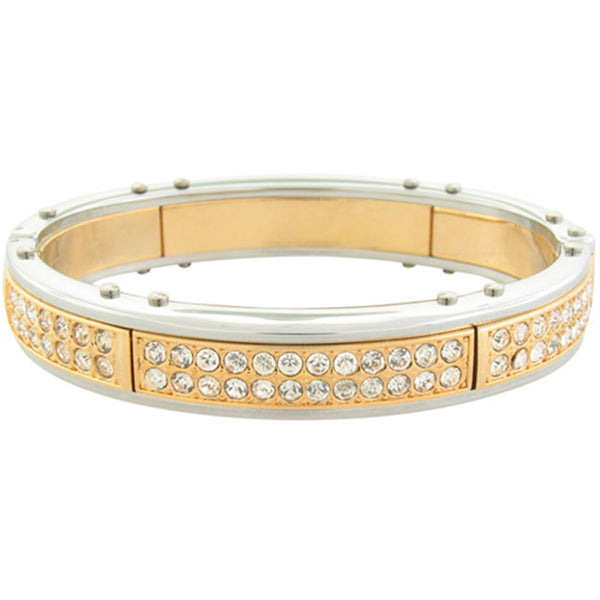 Inox Jewelry Men's Gold Plated CZ 316L Stainless Steel Bling Bracelet
