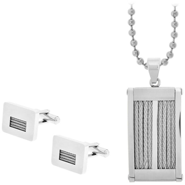 Inox Jewelry Cuff Link and Dog Tag Cable Inlay 316L Stainless Steel Set