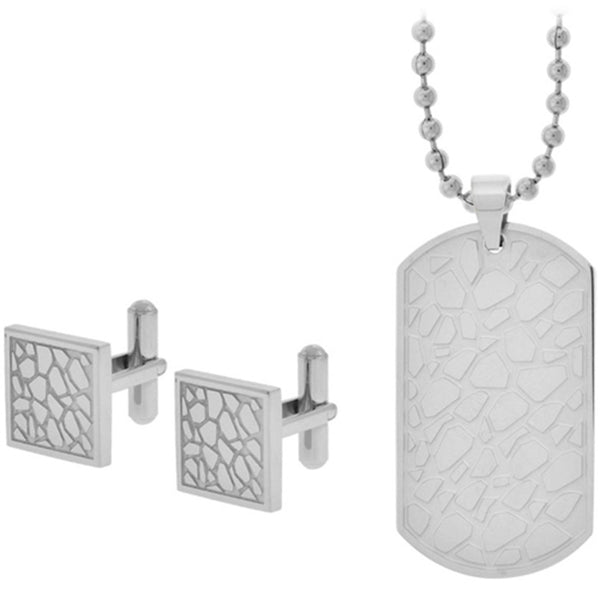 Inox Jewelry Cuff Link and Dog Tag Pebble Texture 316L Stainless Steel Set