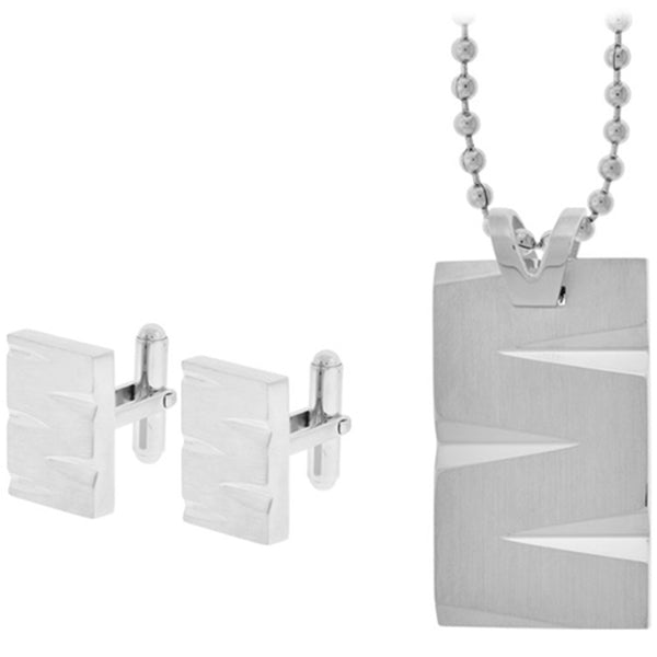 Inox Jewelry Cuff Link and Dog Tag  316L Stainless Steel Set