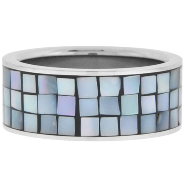 Inox Jewelry Women's Mosaic Shell Fragment 316L Stainless Steel Ring