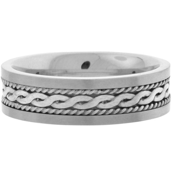 Inox Jewelry Men's Sterling Silver Braid 316L Stainless Steel Ring