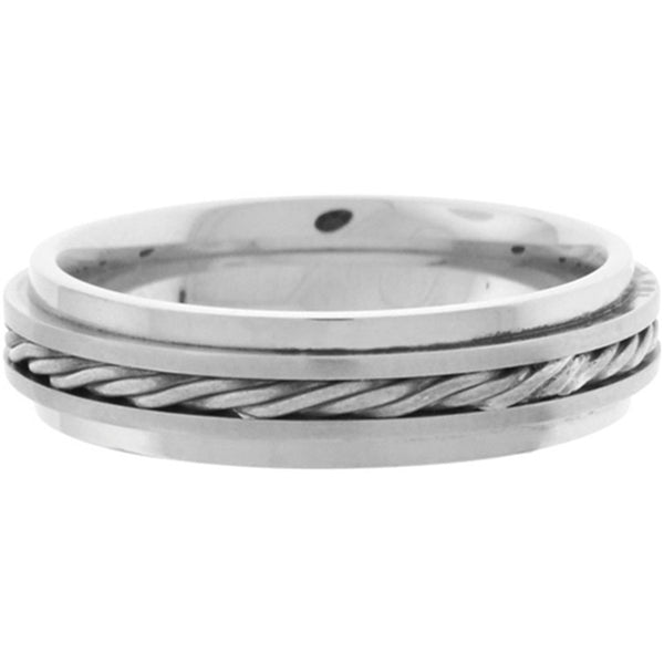 Inox Jewelry Men's Sterling Silver Rope 316L Stainless Steel Ring