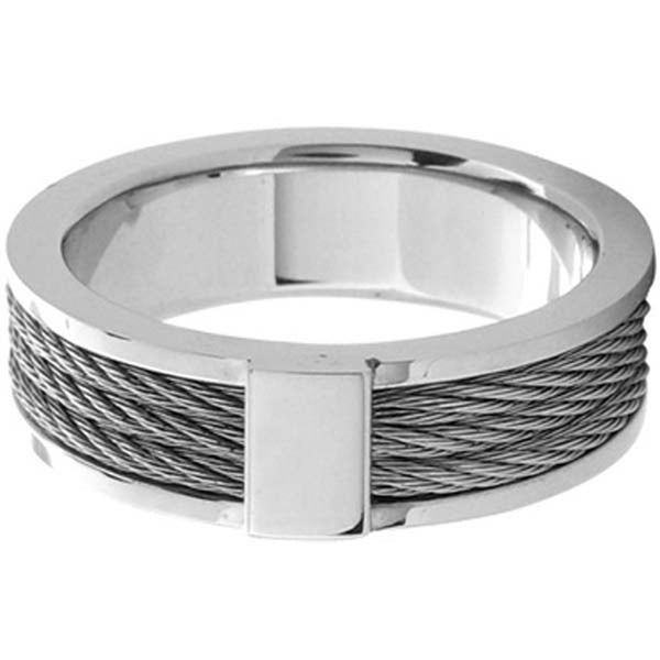 Size 10- Inox Jewelry Men's 316L Stainless Steel Cable Ring