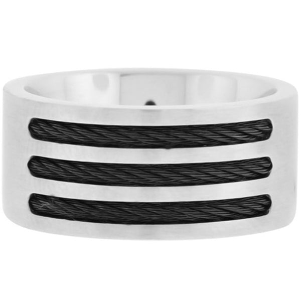 Inox Jewelry Men's 316L Stainless Steel Black Cable Ring
