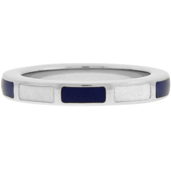 Inox Jewelry Women's 316L Stainless Steel Blue and White Enamel Ring