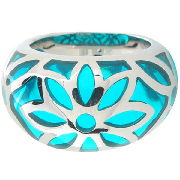 Inox Jewelry Turquoise Resin Flower 316L Stainless Steel Ring