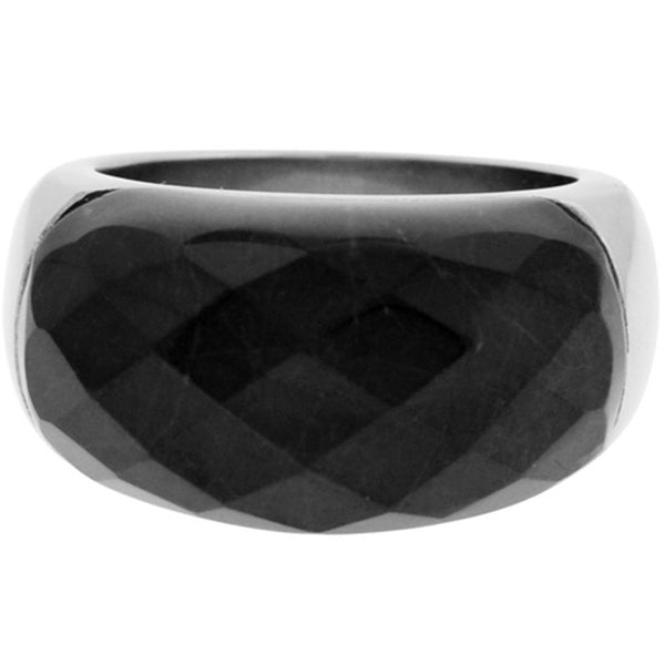 Inox Jewelry Women's Black Howlite 316L Stainless Steel Ring