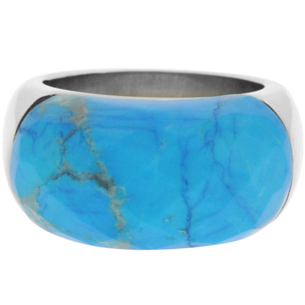 Inox Jewelry Women's Turquoise Howlite 316L Stainless Steel Ring