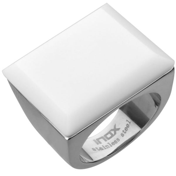 Inox Jewelry Women's White Onyx Square Stone 316L Stainless Steel ring