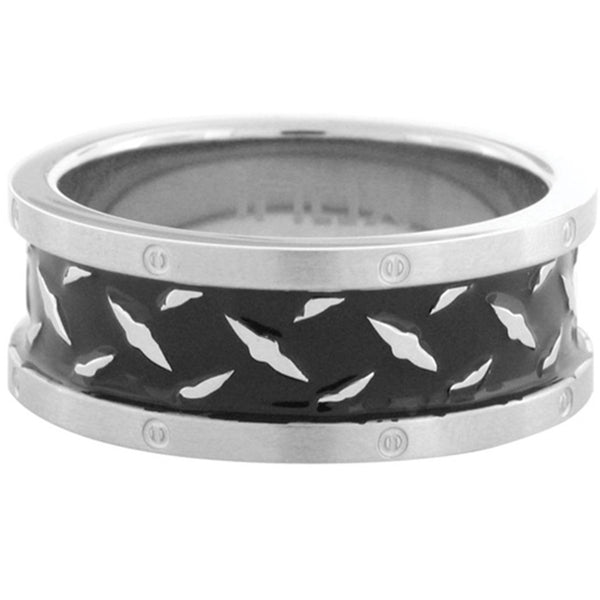 Inox Jewelry Men's Black Plated Diamond Pattern 316L Stainless Steel Ring