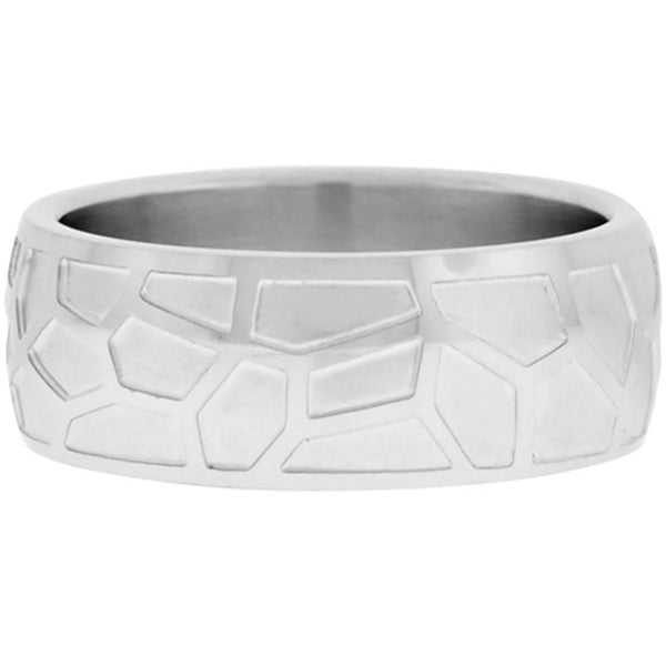Inox Jewelry Polished Pebble Print 316L Stainless Steel Ring
