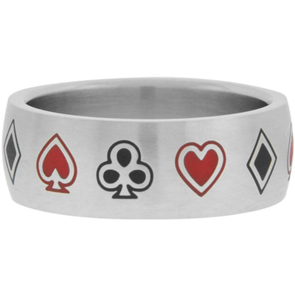 Inox Jewelry Women's Card Game Symbols 316L Stainless Steel Ring