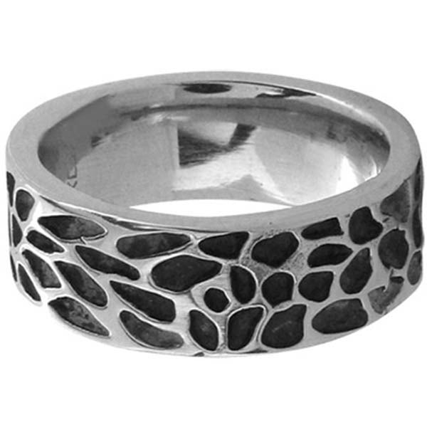 Inox Jewelry Men's Black Pebble Designed 316L Stainless Steel Ring
