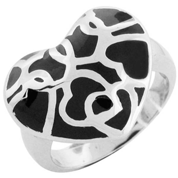 Size 7 -Inox Jewelry Women's Puffy Heart Black PVD 316L Stainless Steel Ring