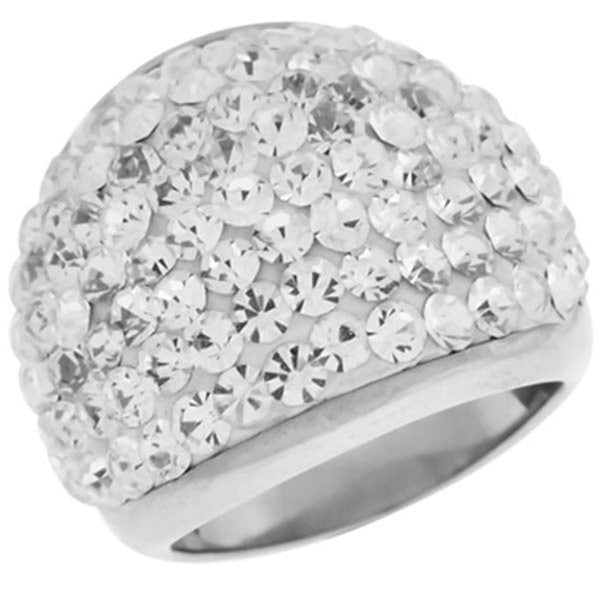 Inox Jewelry Women's Paved CZ Large 316L Stainless Steel Cocktail Ring