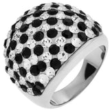 Inox Jewelry Women's Paved Clear and Jet CZ Large 316L Stainless Steel Cocktail Ring