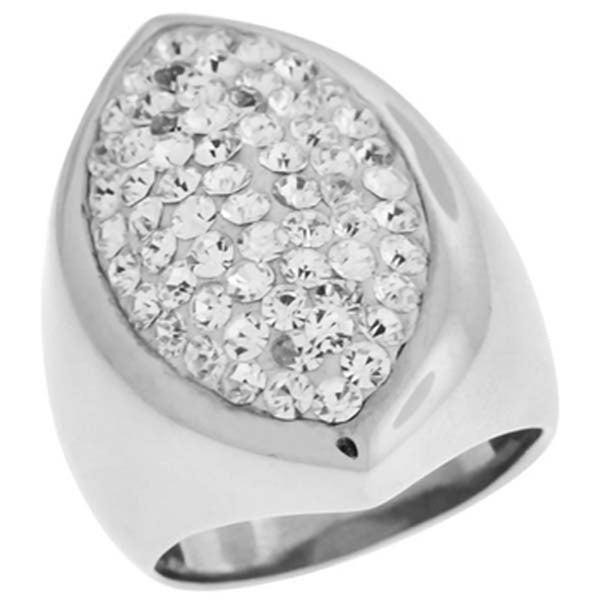 Inox Jewelry Women's Pear Shaped CZ 316L Stainless Steel Ring