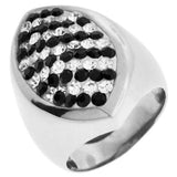 Inox Jewelry Women's Pear Shaped Clear and Jet CZ 316L Stainless Steel Ring