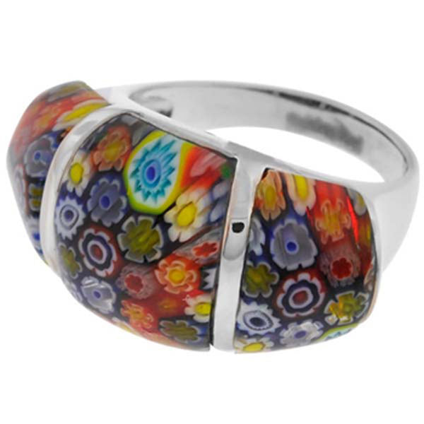 Inox Jewelry Women's Murano Glass Three Piece 316L Stainless Steel Ring