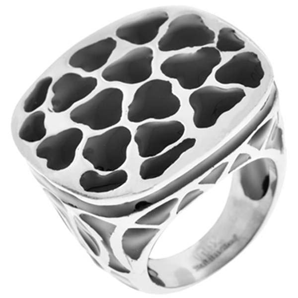 Inox Jewelry Women's Black Resin 316L Stainless Steel Cocktail Ring