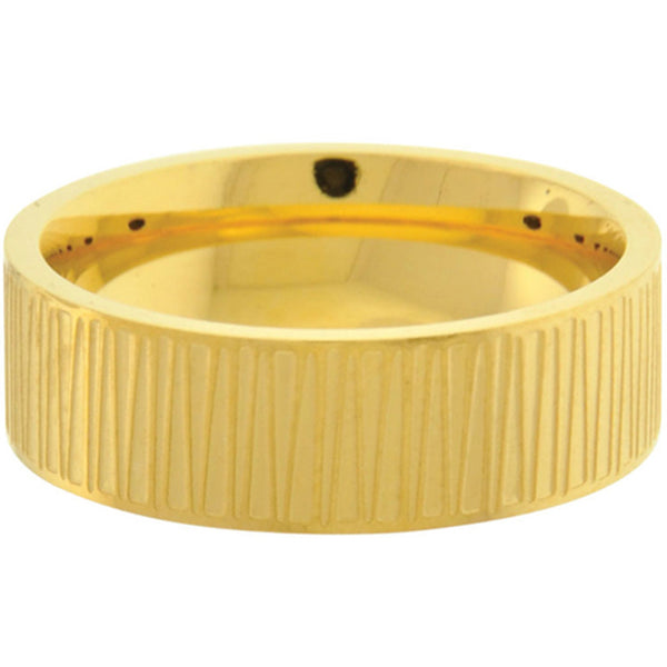Inox Jewelry Men's Large Slash Gold PVD 316L Stainless Steel Band Ring