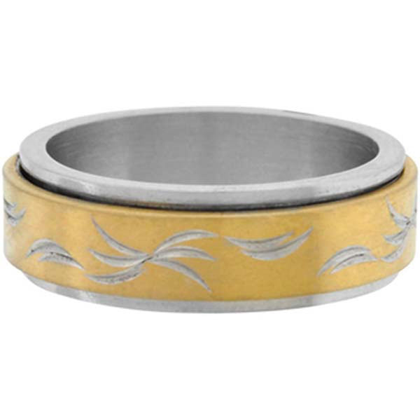 Inox Jewelry Men's Two Tone 316L Stainless Steel Spin Ring