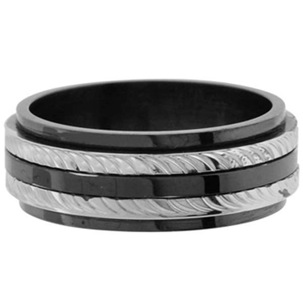 Inox Jewelry Men's Black PVD 316L Stainless Steel Cable Texture Ring