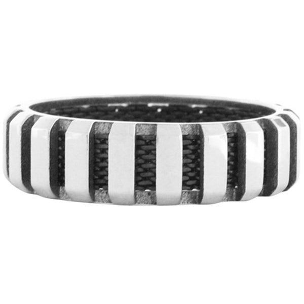 Inox Jewelry Men's Mesh 316L Stainless Steel Ring