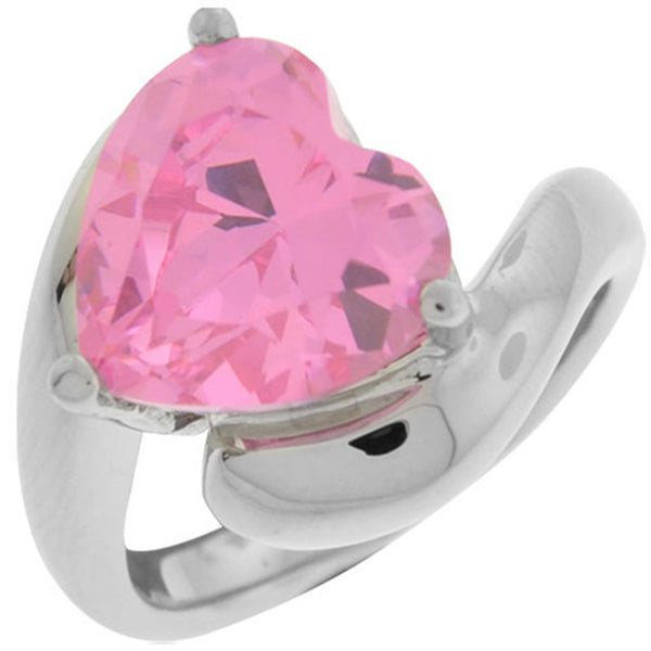 Inox Jewelry Women's Pink Tanzanite Heart 316L Stainless Steel Ring