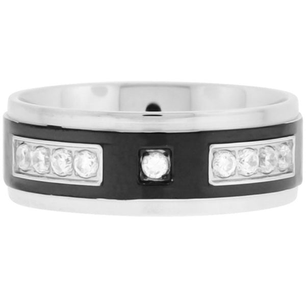 Inox Jewelry Men's CZ Black Plated 316L Stainless Steel Ring